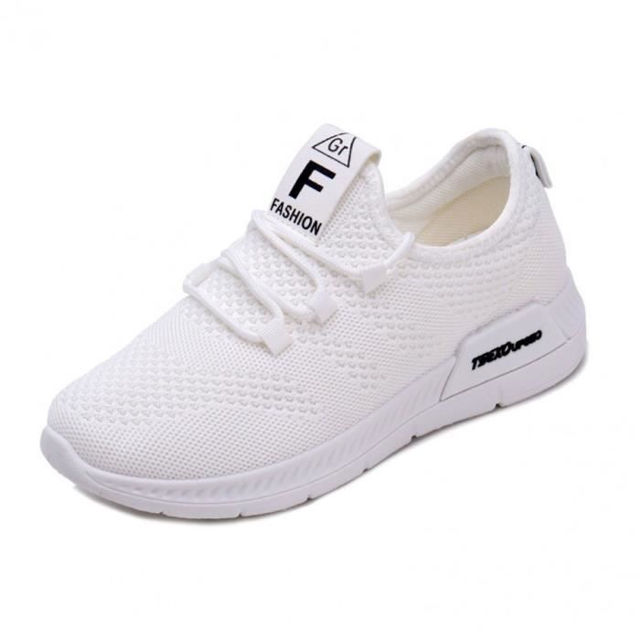 Chaussures de Running Compétition Femme Fitness LéGèRes Outdoor Casual  Tennis Pas Cher Été Chaussure Lacets altra léger Blanc