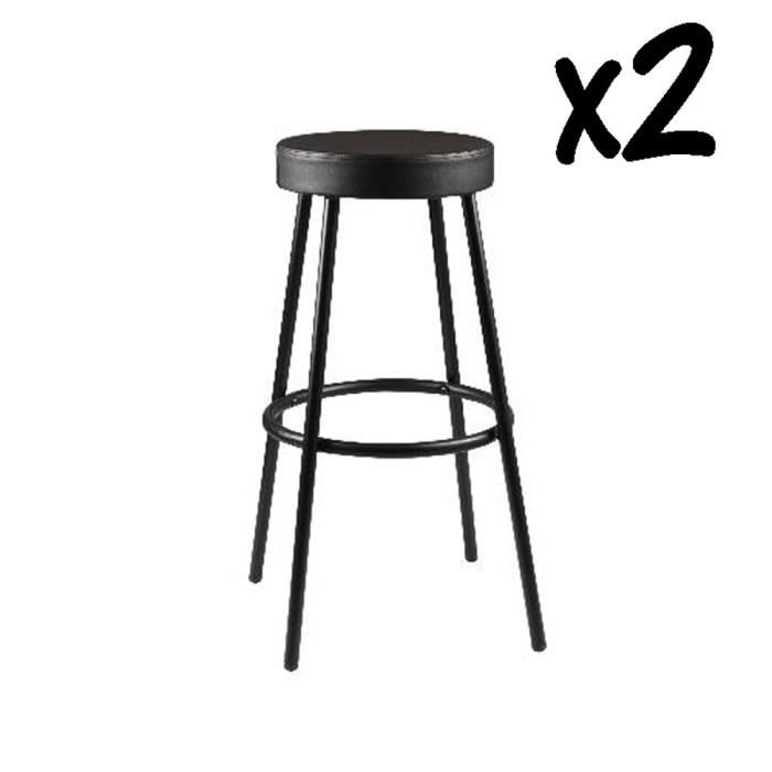 lot de 2 tabourets de bar noir uni pied en m tal contreplaqu et assise en polyur thane achat. Black Bedroom Furniture Sets. Home Design Ideas
