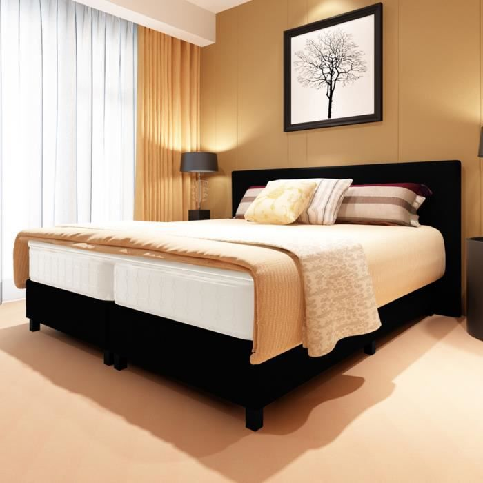 lit boxspring avec t te de lit capitonn e noir 180 achat. Black Bedroom Furniture Sets. Home Design Ideas