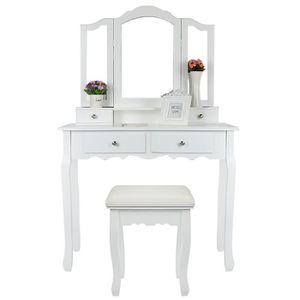 COIFFEUSE (Blanc) Coiffeuse de Maquillage avec 3 Miroirs 4 T