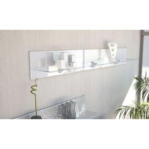 ETAGÈRE MURALE Etagère design en bois et verre blanche avec led 1