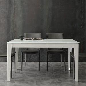 TABLE À MANGER SEULE Table à manger taupe design en verre extensible AL