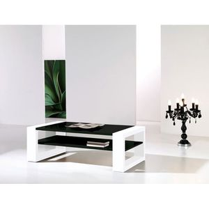 TABLE BASSE Table basse noir et blanc laqué design CYNTHIA L 1