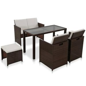 Ensemble table et chaise de jardin Festnight mobilier de jardin exterieur en rotin av