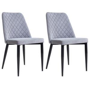 CHAISE Lot de 2 chaises ZAMORA en tissu gris pour salle à