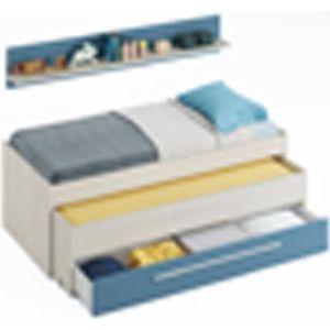 STRUCTURE DE LIT Lit double avec un tiroir coloris Blanc Alpes - bl