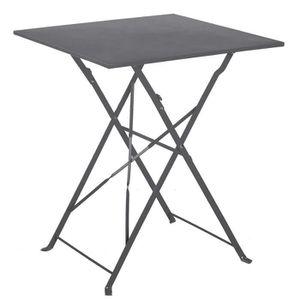 TABLE À MANGER SEULE Table de jardin pliante en acier coloris anthracit