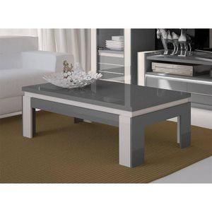 TABLE BASSE Table basse design LINA grise et blanche brillante