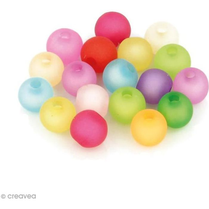 Perles Rondes colorées givre - 8 mm - 150 pcs environ Perles givre colorées Rondes Diamètre d'une perle: 8 mmDiamètre du trou: 2