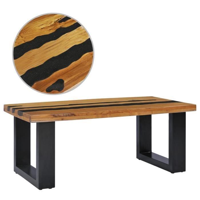 Table basse, Tables d'appoint, Tables gigognes - 100 x 50 x 40 cm - Style industriel - Bois de teck massif et pierre de lave