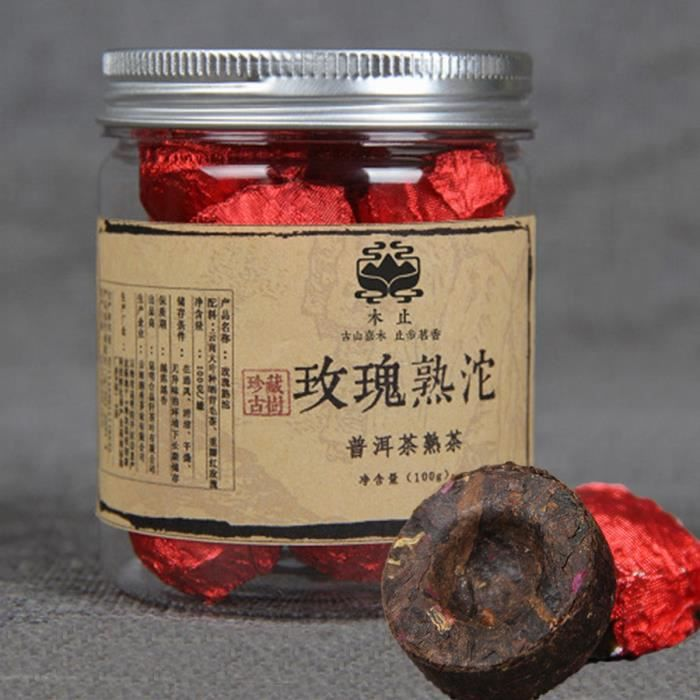 Yunnan Rose Puerh tea 100g (0.22LB) canned Rose Puer small Tuocha Pu er ripe tea organic tea Pu'er tea Black tea Puer tea Chinese