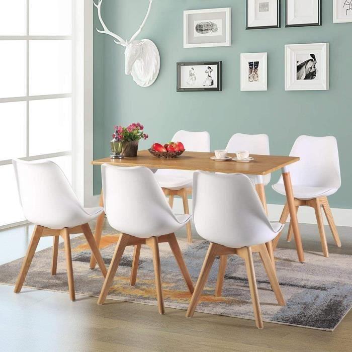 Table à manger de 4 à 6 personnes Table Salle à Manger Rectangulaire Scandinave Design Bois