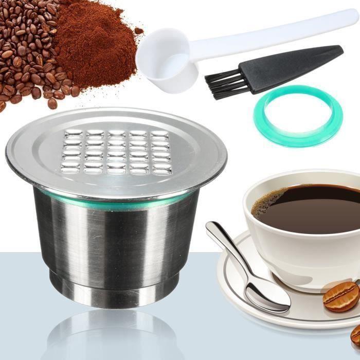 Réutilisable Café Capsule Dosette Inox + Cuillère + Brosse Pr NESPRESSO Machine