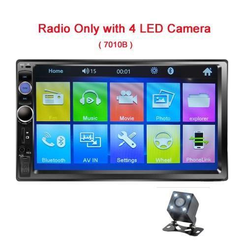 Podofo 2 din autoradio 7- HD écran tactile Mirrorlink Auto Radio Bluetooth autoradio multimédia - Type No Contral LEDCamera