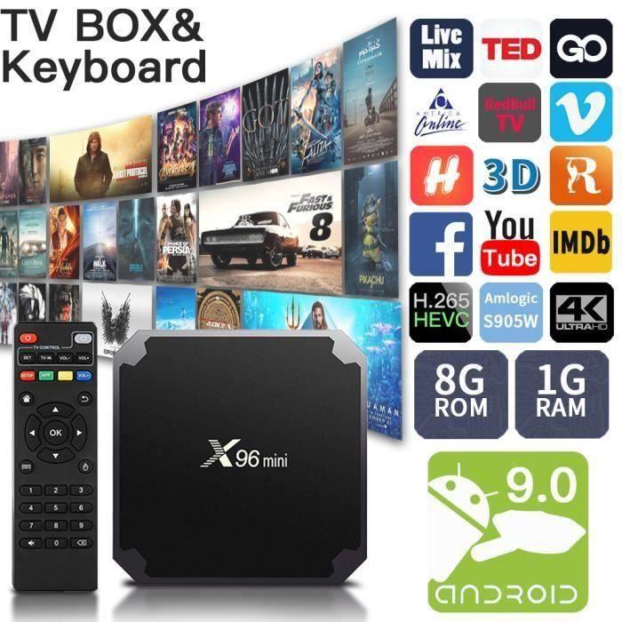 X96mini Gondroid 7.1.2 Décodeur Stream tv Box Govec Gomlogic S905W Quad Core 1Go+8Go eMMC 2.4GHz WiFi 4Kx2K HD Lecteur multimedi