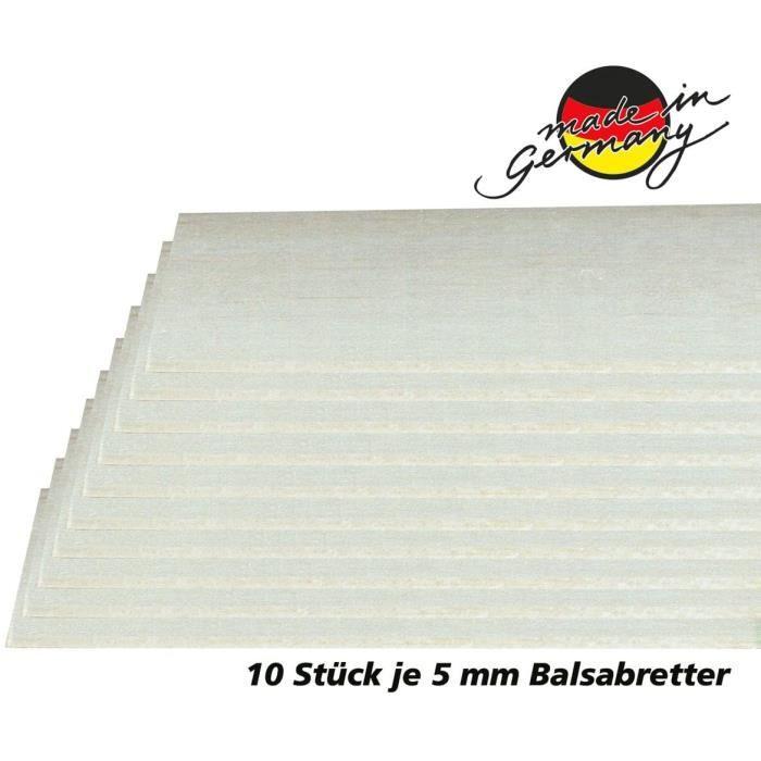 Kits d'accessoires pour modélisme Jamara 231066 Planches Balsa 5 x 100 x 1000 mm – Lot de 10 en qualité AAA Bois de bals 164045