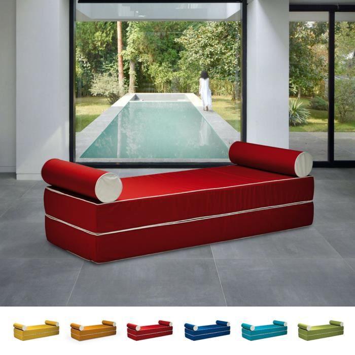 Canapé-lit double modulable au design confortable avec coussins Free Bed, Couleur: Rouge