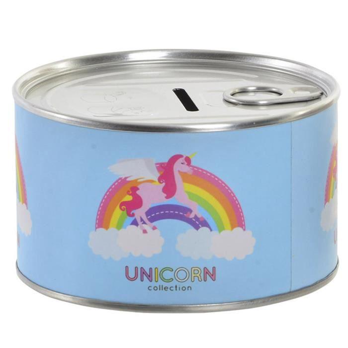 Tirelire en métal de l'épargne sous la forme d'une boîte avec un dessin d'une licorne 10,5 x 6 cm - Maison et plus (A)