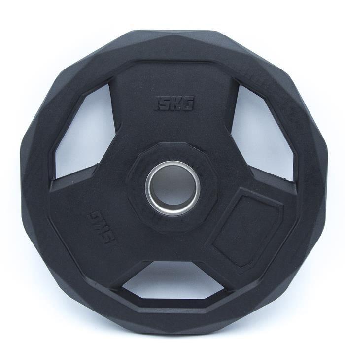 Disque Olympique Hexagonal Premium - 15 kg - Noir