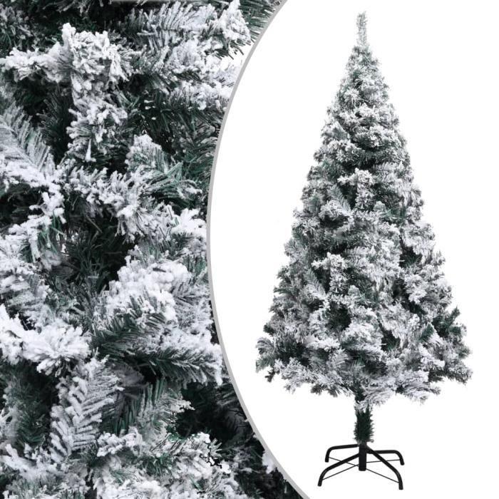 Sapin de Noël artificiel à flocons de neige Vert 150 cm PVC -ABI