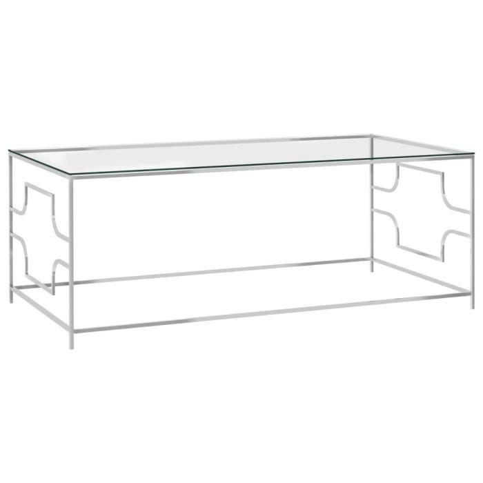 YUMAIL Table basse Argenté 120x60x45 cm Acier inoxydable et verre #6