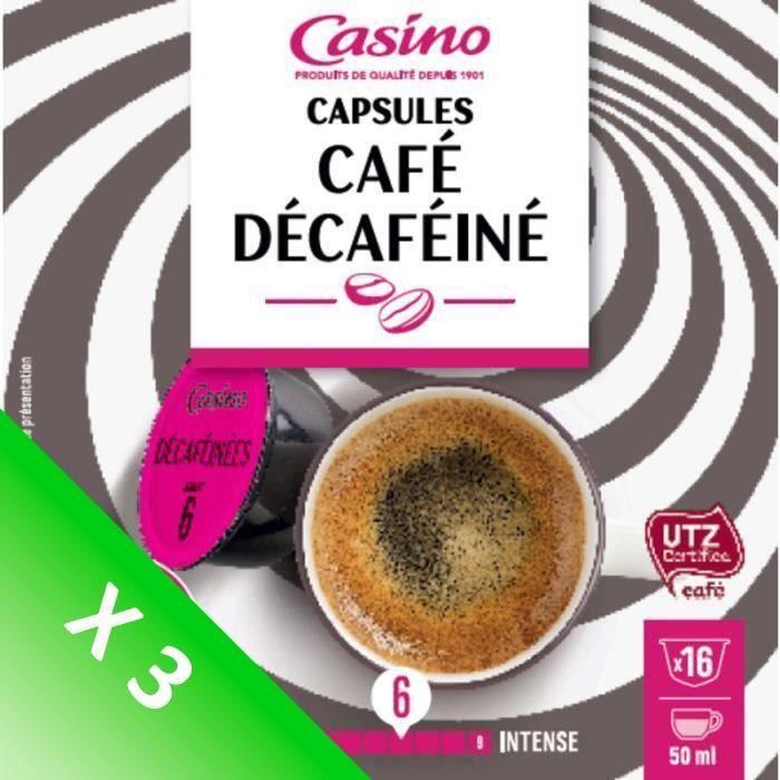 [LOT DE 3] CASINO Capsules de café Décaféine - 16x 112 g