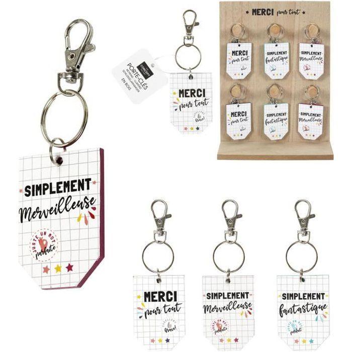 Porte-clés Merci Maitresse En Bois - 4x5.8x0.5cm - Motif aléatoire - vendu à l'unité