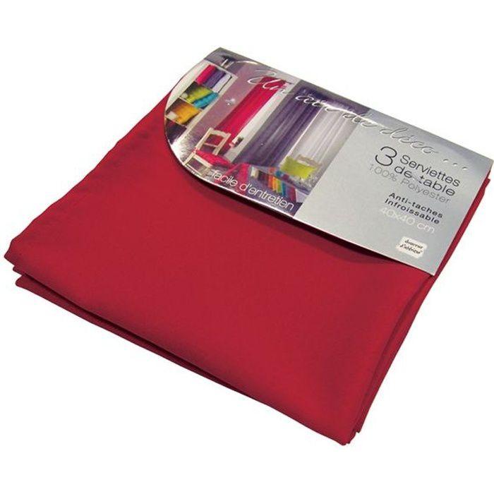 Lot de 3 serviettes de table ESSENTIEL rouge