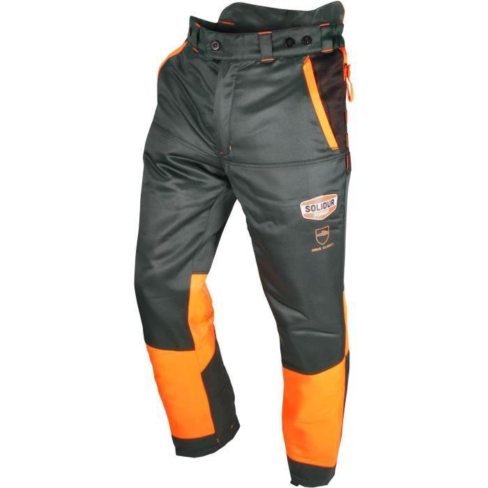 Pantalon de bûcheronnage OZAKI Multi-poches Norme CE EN381-5, Classe 1 : 20 m/s, type A