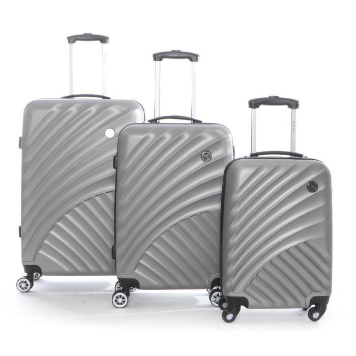 Set de 3 Bagages en ABS Geographical Norway Santoni Argent