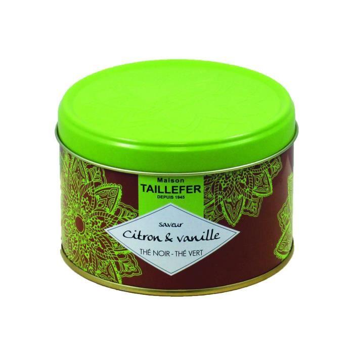 MAISON TAILLEFER Thé noir et thé vert - Saveur citron vanille - Boîte de 80 g