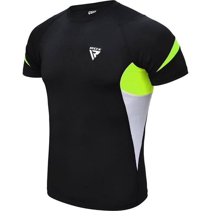 RDX MMA Néoprène Chemise de Compression Rashguard Manche Court Shirt Sudation Arts Martiaux