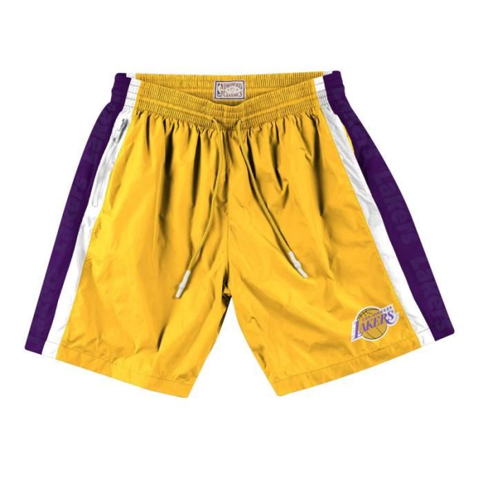 Short NBA Los Angeles Lakers Mitchell & Ness Packable Nylon Jaune pour Homme