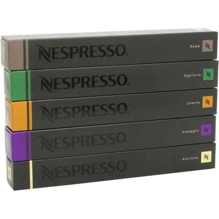 Nespresso Lot de 50 capsules de café Varié