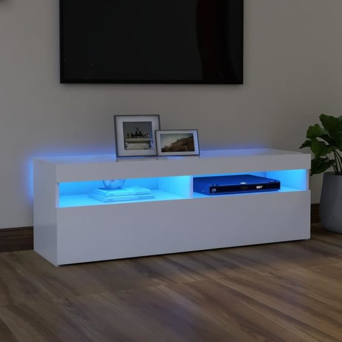 5159HONEY-Meuble TV avec lumières LED,Meuble Télé Meuble TV avec lumières LED Blanc 120x35x40 cm