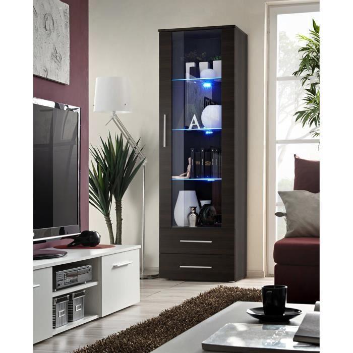 Vitrine NEO I design, coloris wengé + LED. Meuble moderne et tendance pour votre salon. 40 Marron
