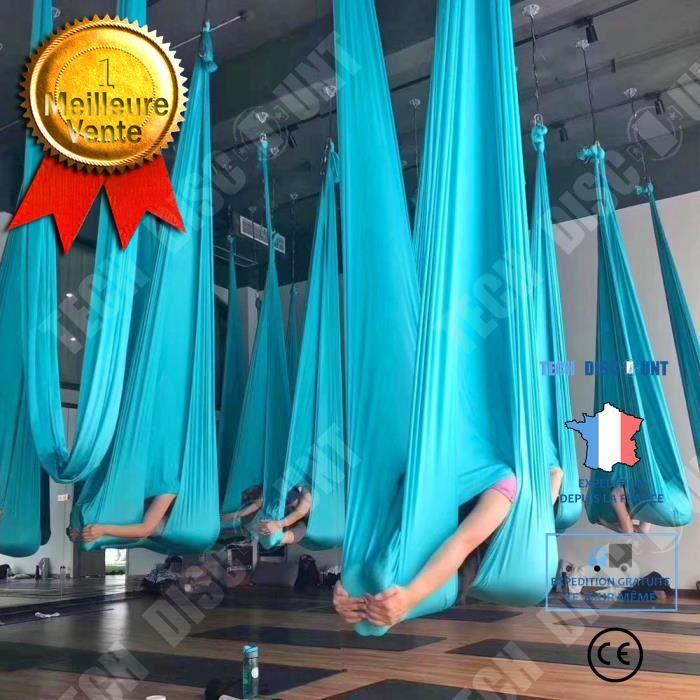 TD® Accessoires Fitness - Musculation,4*2.8M yoga hamac couleur unie anti gravité yoga balançoire aérienne Air yoga - blue