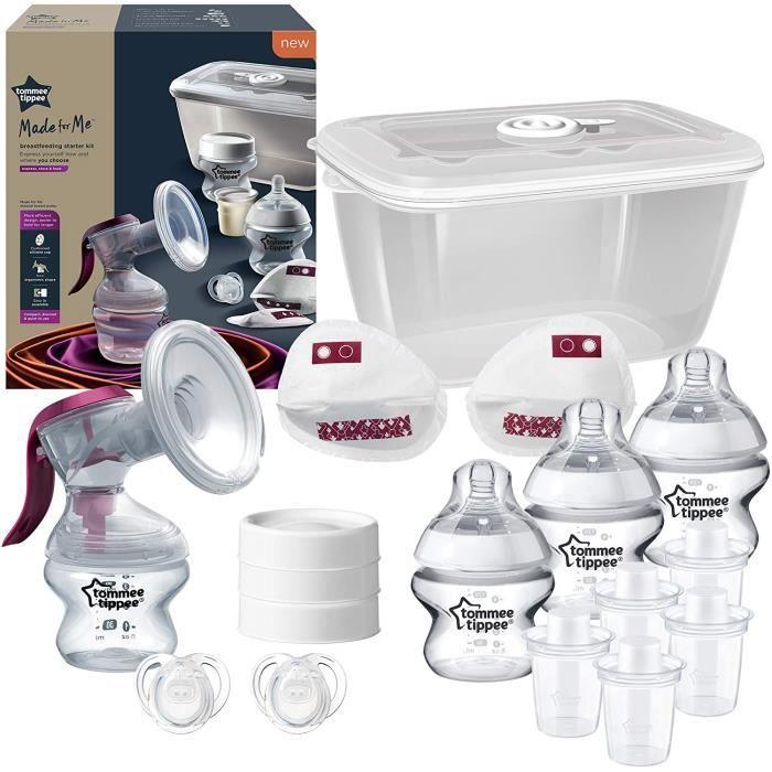 TOMMEE TIPPEE Starter Kit Allaitement Manuel Made for Me, tire-lait manuel et accessoires d'allaitement
