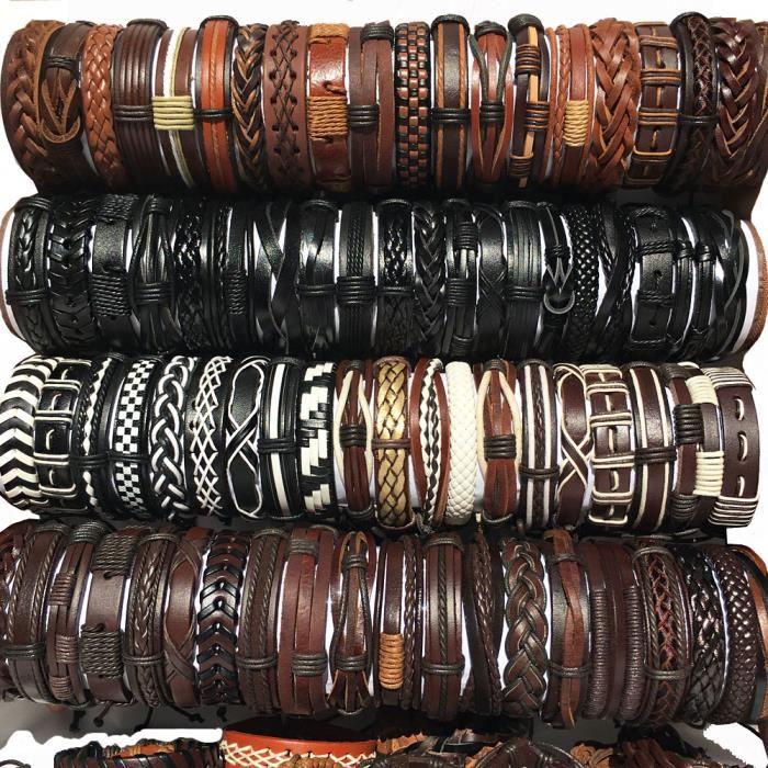 Black Brown White 30- -Bracelets tressés en cuir pour hommes et femmes, 30 pièces-lot, mélange de Styles rétro, ethniques, Tribal, f
