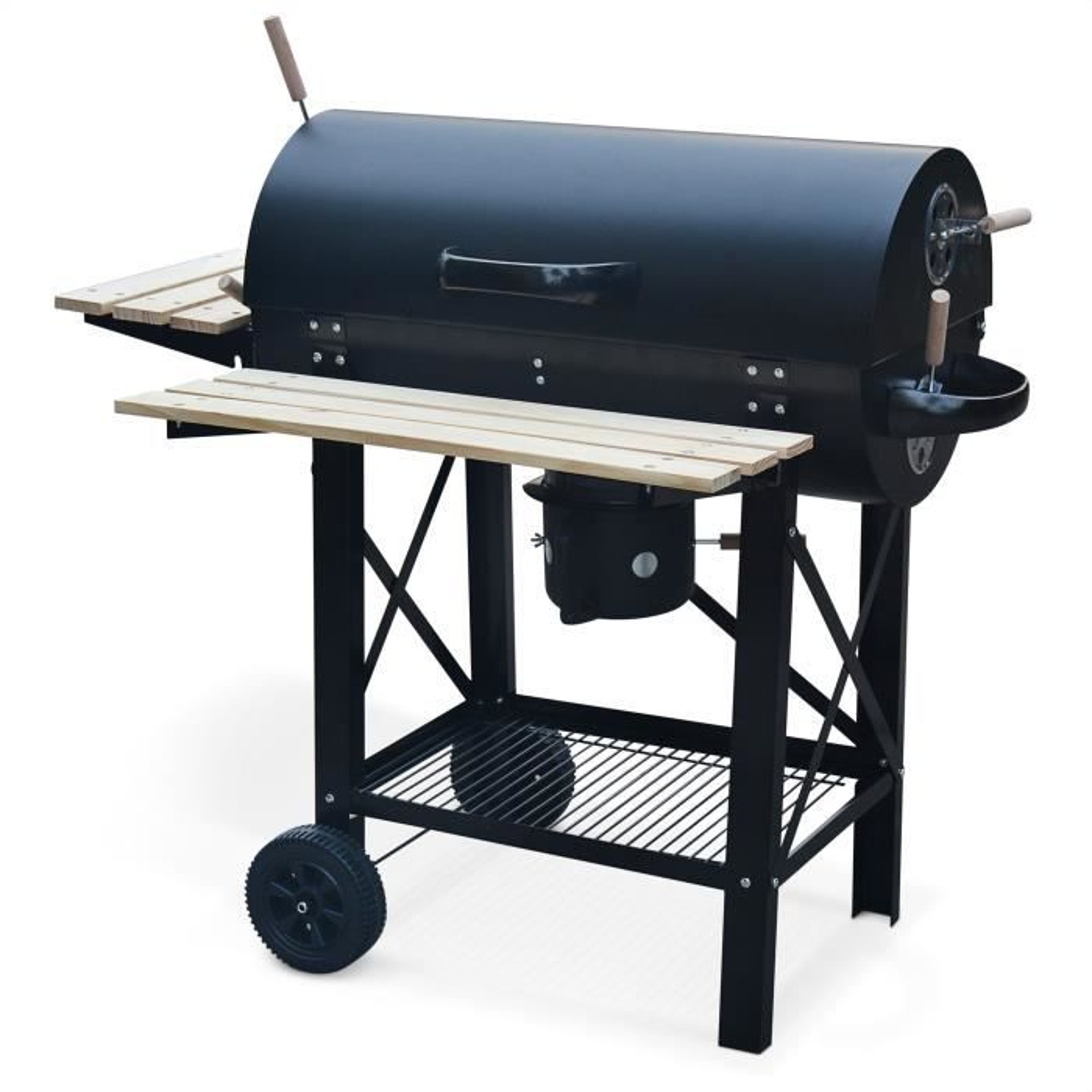 Photo de barbecue-charbon-de-bois-serge-coloris-noir-fumoir-smoker-americain