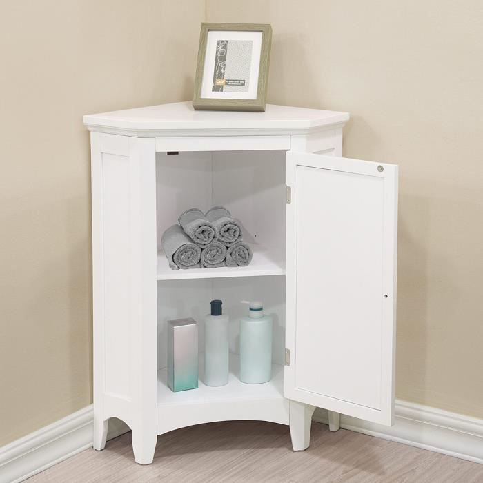 Meuble d 39 angle sur pieds blanc commode salle de bain ethan - Meuble d angle pour salle de bain ...