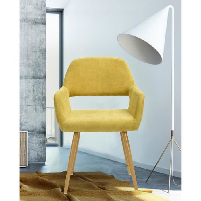 chaise fauteuil chaise scandinave tissu jaune mtal - Chaise Scandinave Jaune