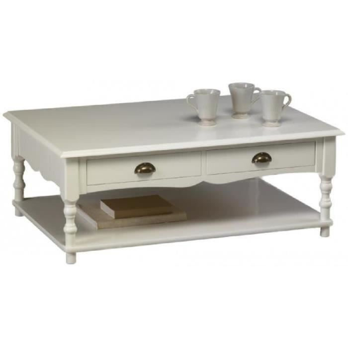Table basse blanche rectangle 100x70cm de style anglais achat vente tabl - Table basse blanche but ...