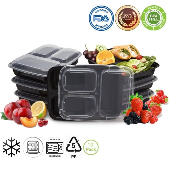 bento bo tes lunch en plastique r cipients alimentaires repas prep containers set 10. Black Bedroom Furniture Sets. Home Design Ideas