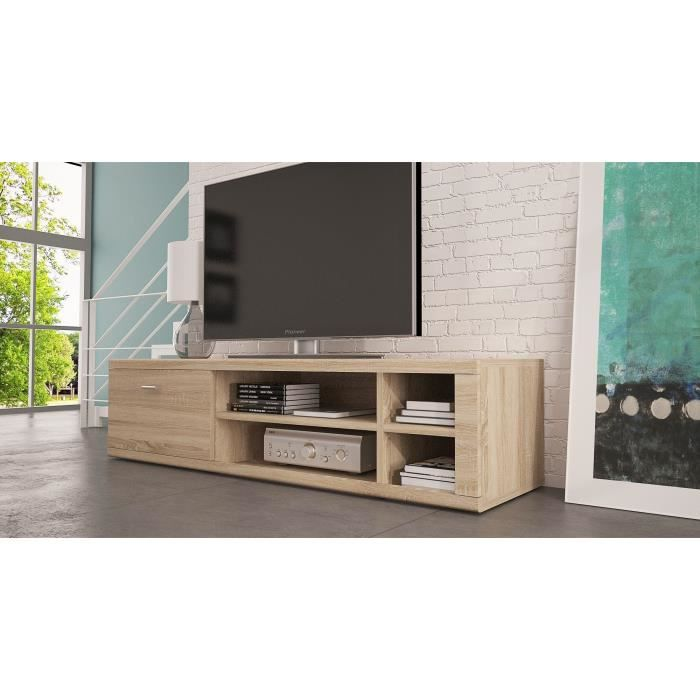 meuble tv ivo ch ne clair sonoma achat vente meuble. Black Bedroom Furniture Sets. Home Design Ideas