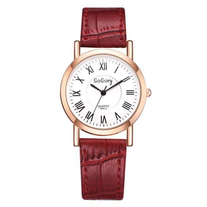 montre femme bracelet cuir pas cher