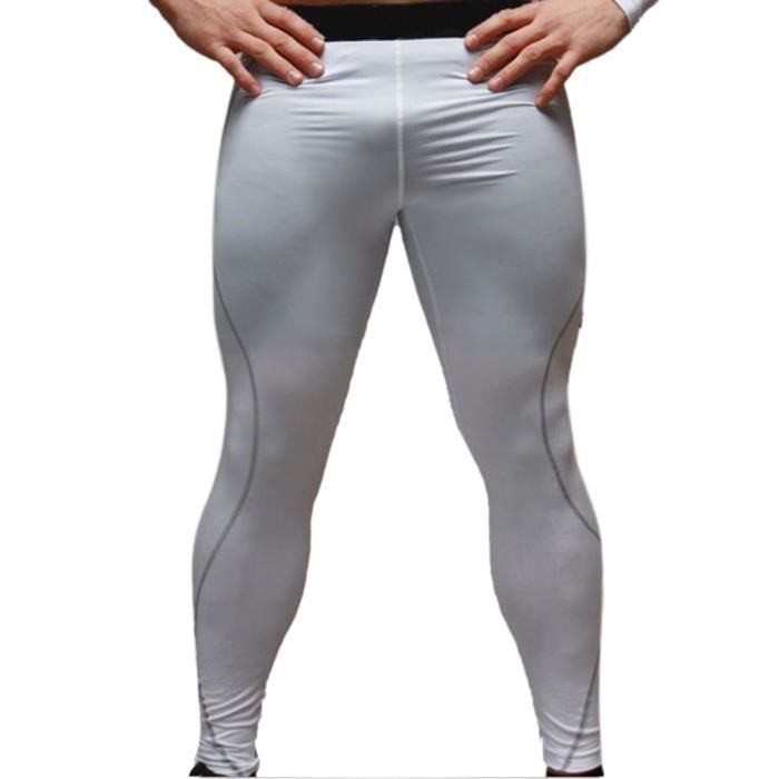 hee grand homme collants de sport leggings blanc blanc achat vente leggings thermique. Black Bedroom Furniture Sets. Home Design Ideas