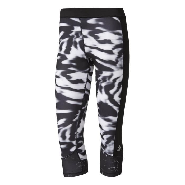 Adidas Performance Collants Techfit Capri Print Noir Collants - Leggings  Femme Multisports 338b15bf69a