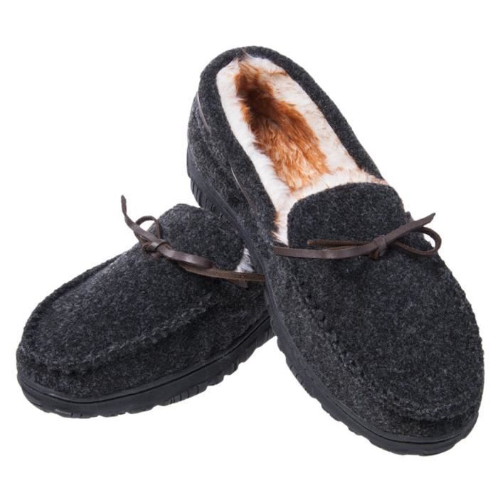 slip Outsole F25PA Slip Microsuede Moccasin Indoor Plush Outdoor Slippers 47 Rubber Lining On Thick Anti Shoe Taille 6gwIYqz