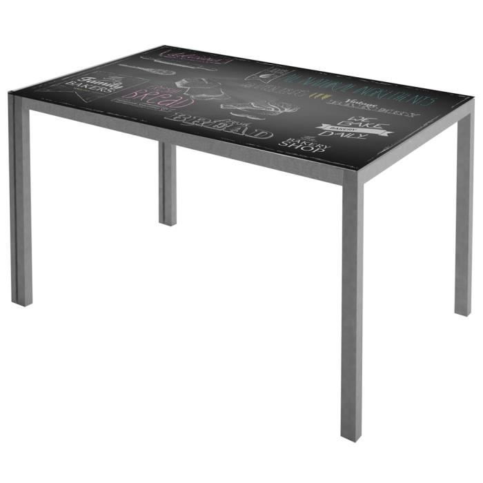 table de cuisine coloris gris noir 1050 x 600 x 750 mm achat vente table de cuisine table. Black Bedroom Furniture Sets. Home Design Ideas